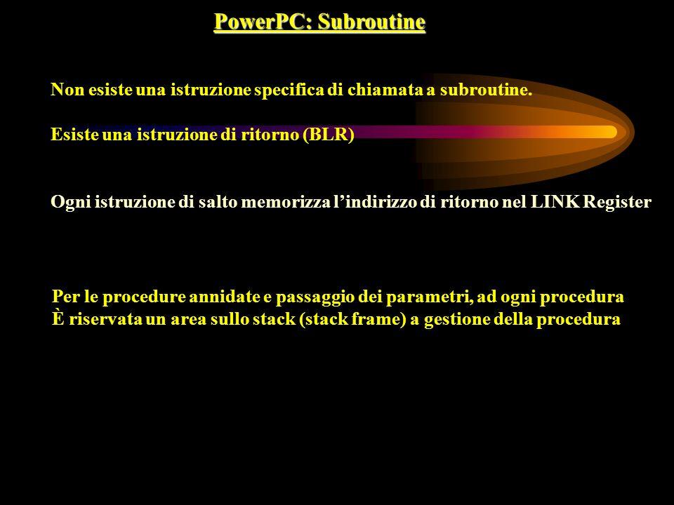 PowerPC: Subroutine Non esiste una istruzione specifica di chiamata a subroutine. Esiste una istruzione di ritorno (BLR) Ogni istruzione di salto memo