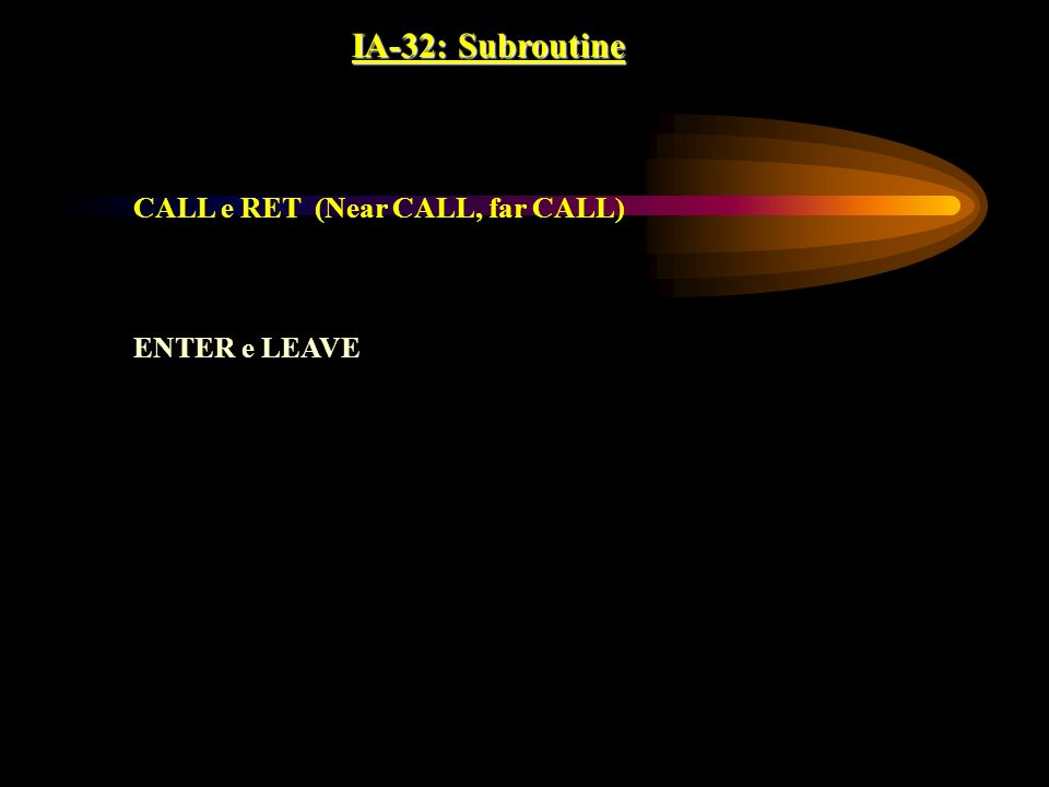 IA-32: Subroutine CALL e RET (Near CALL, far CALL) ENTER e LEAVE