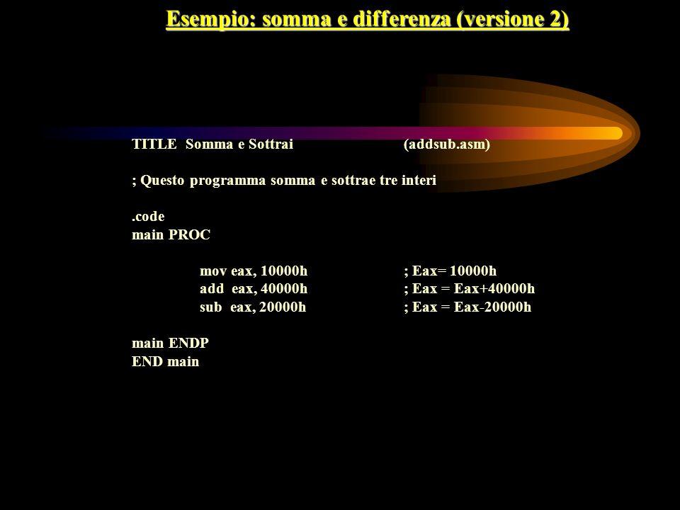 Esempio: somma e differenza (versione 2) TITLE Somma e Sottrai(addsub.asm) ; Questo programma somma e sottrae tre interi.code main PROC mov eax, 10000