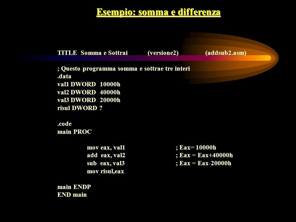 Esempio: somma e differenza TITLE Somma e Sottrai (versione2)(addsub2.asm) ; Questo programma somma e sottrae tre interi.data val1 DWORD 10000h val2 D