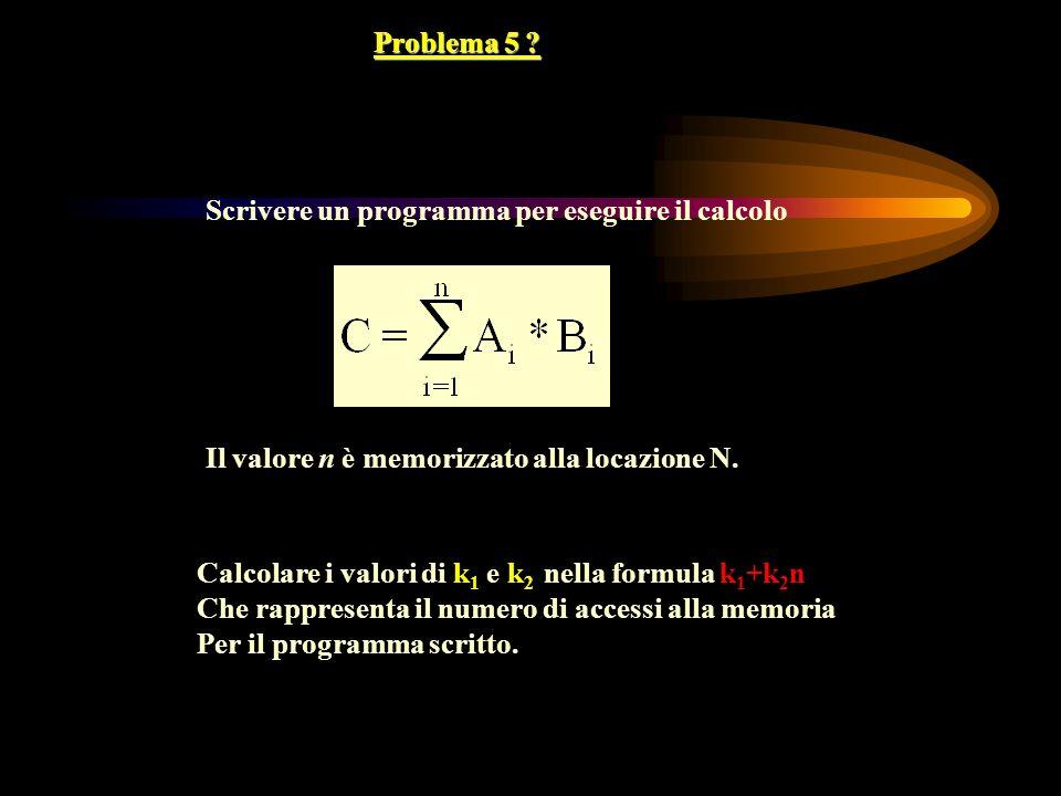 Problema 5 ? Scrivere un programma per eseguire il calcolo Il valore n è memorizzato alla locazione N. Calcolare i valori di k 1 e k 2 nella formula k