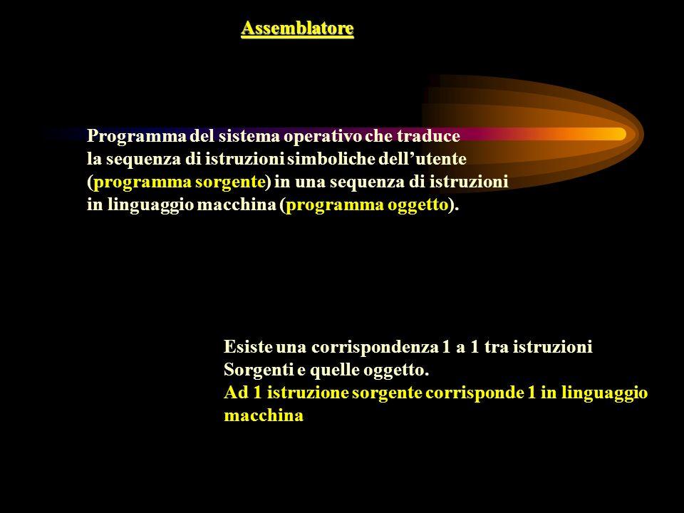 Assemblatore Programma del sistema operativo che traduce la sequenza di istruzioni simboliche dellutente (programma sorgente) in una sequenza di istru