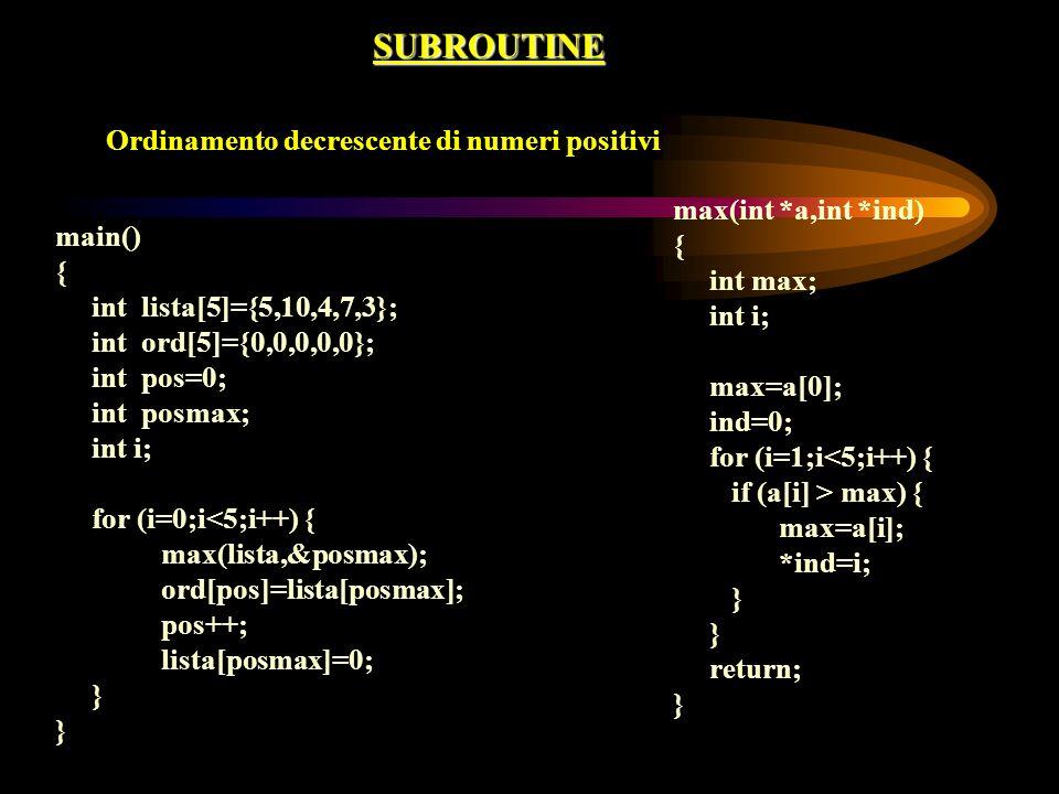 SUBROUTINE Ordinamento decrescente di numeri positivi main() { int lista[5]={5,10,4,7,3}; int ord[5]={0,0,0,0,0}; int pos=0; int posmax; int i; for (i