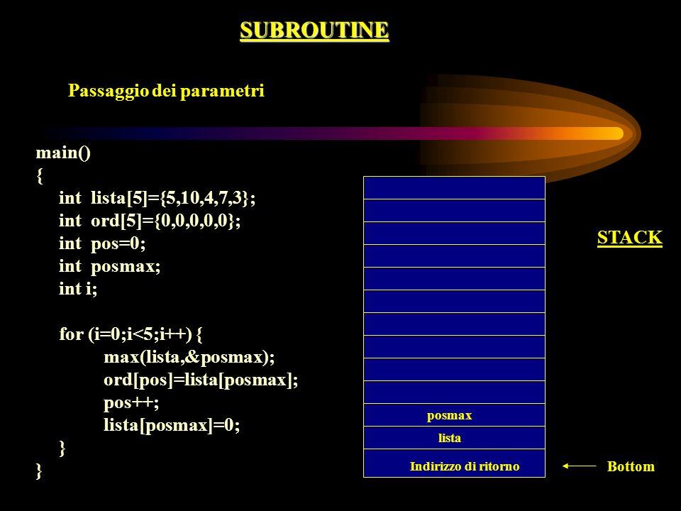 SUBROUTINE Passaggio dei parametri main() { int lista[5]={5,10,4,7,3}; int ord[5]={0,0,0,0,0}; int pos=0; int posmax; int i; for (i=0;i<5;i++) { max(l
