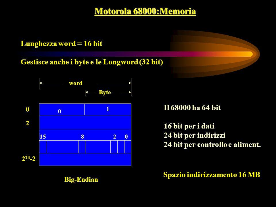 Motorola 68000:Memoria Lunghezza word = 16 bit Gestisce anche i byte e le Longword (32 bit) 0 1 0 0 2 2 24 -2 Big-Endian 2815 Byte word Il 68000 ha 64