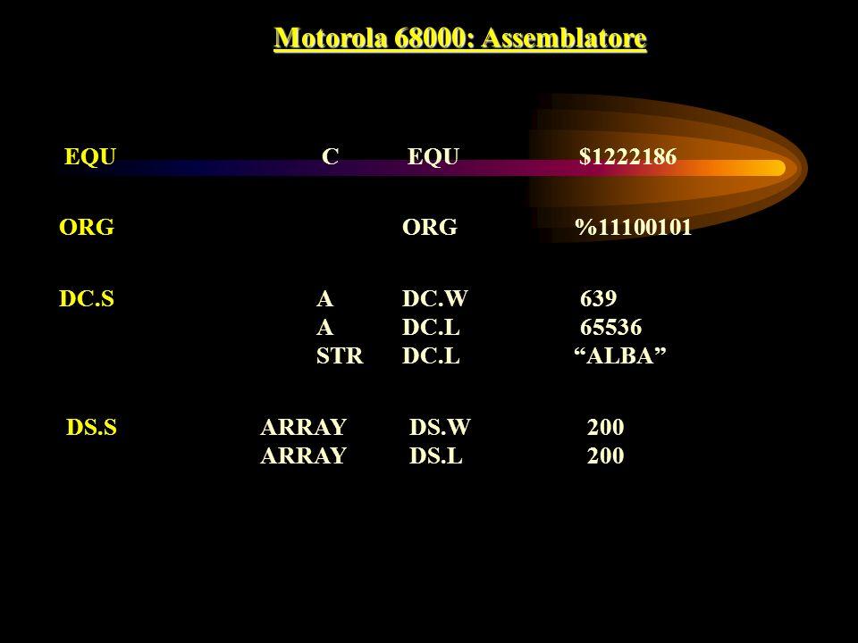 Motorola 68000: Assemblatore EQUCEQU$1222186 ORGORG%11100101 DC.SADC.W 639 ADC.L 65536 STRDC.LALBA DS.S ARRAYDS.W 200 ARRAYDS.L 200