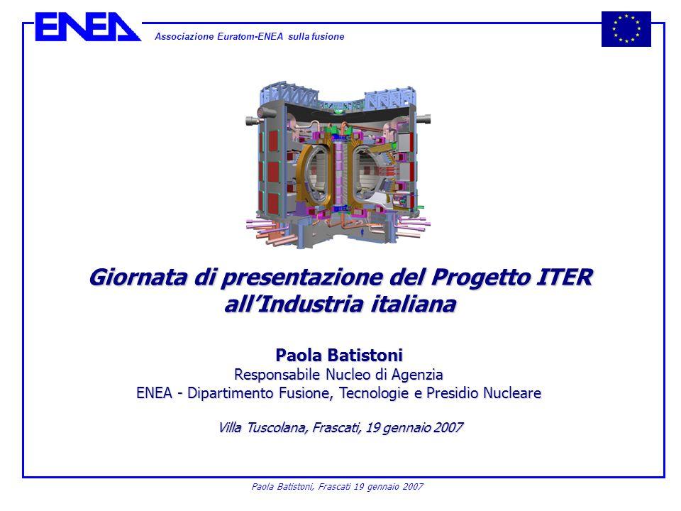 Associazione Euratom-ENEA sulla fusione Paola Batistoni, Frascati 19 gennaio 2007 Giornata di presentazione del Progetto ITER allIndustria italiana Pa