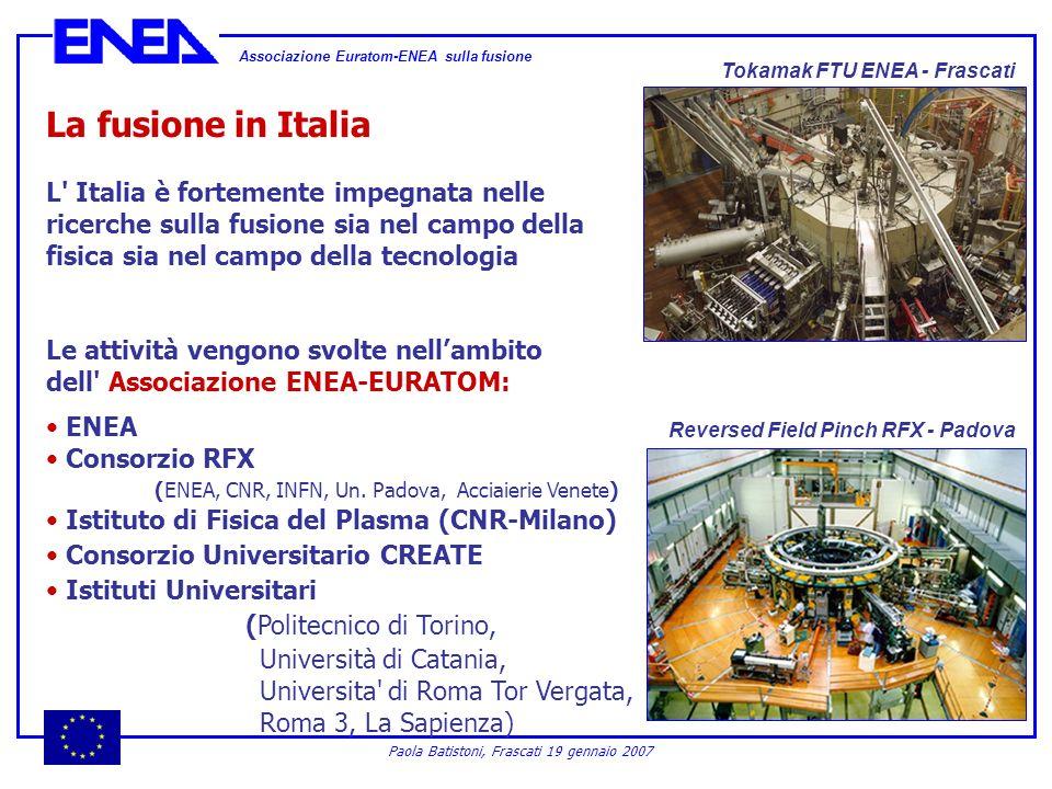 Associazione Euratom-ENEA sulla fusione Paola Batistoni, Frascati 19 gennaio 2007 La fusione in Italia L' Italia è fortemente impegnata nelle ricerche