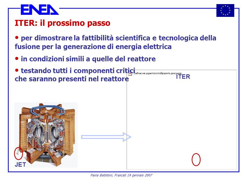 Paola Batistoni, Frascati 19 gennaio 2007 ITER: il prossimo passo per dimostrare la fattibilità scientifica e tecnologica della fusione per la generaz