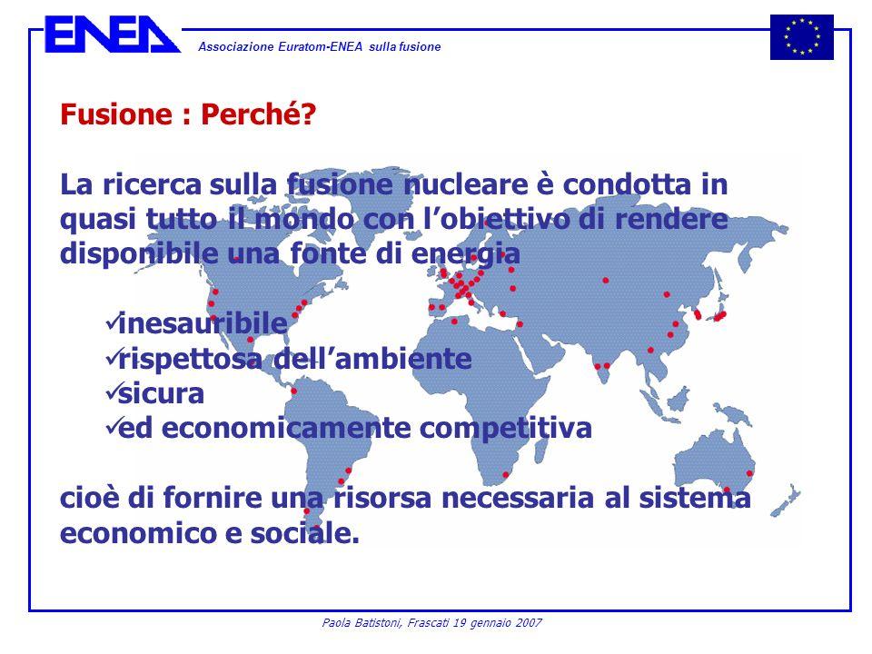 Associazione Euratom-ENEA sulla fusione Paola Batistoni, Frascati 19 gennaio 2007 Fusione : Perché? La ricerca sulla fusione nucleare è condotta in qu