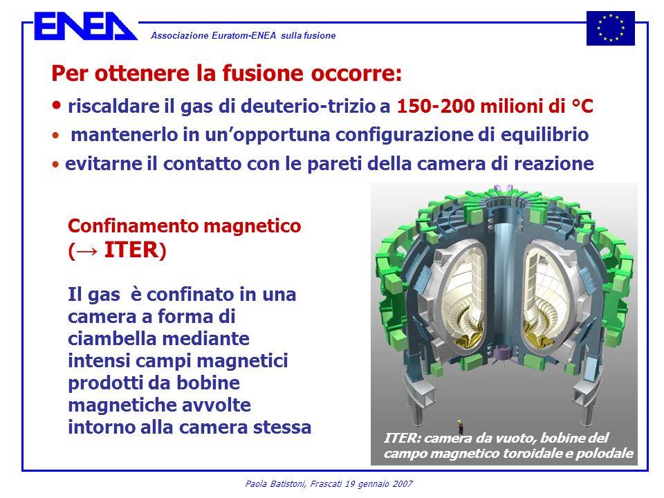 Associazione Euratom-ENEA sulla fusione Paola Batistoni, Frascati 19 gennaio 2007 Per ottenere la fusione occorre: riscaldare il gas di deuterio-trizi