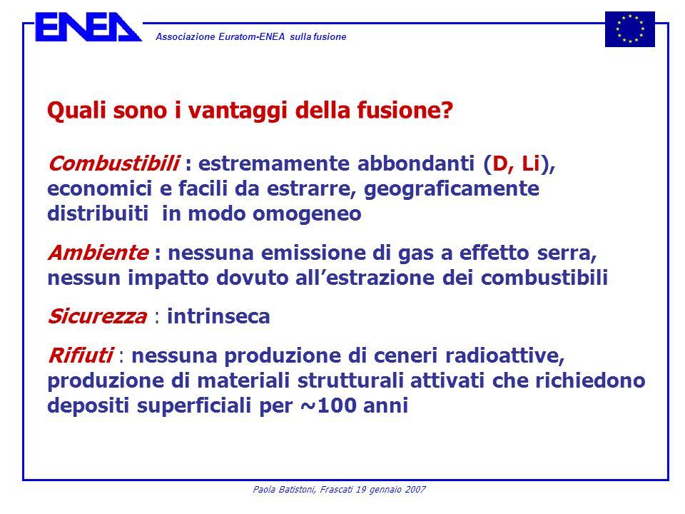 Associazione Euratom-ENEA sulla fusione Paola Batistoni, Frascati 19 gennaio 2007 Quali sono i vantaggi della fusione? Combustibili : estremamente abb