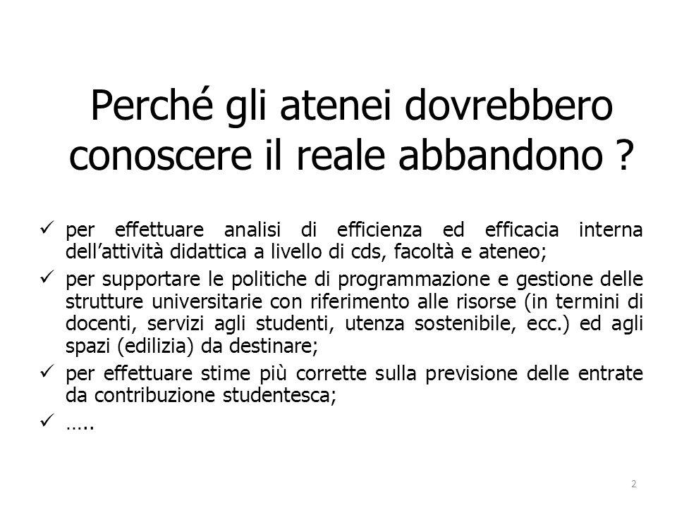 Definizioni preliminari per un percorso alternativo Studente che abbandona luniversità: colui che non consegue il titolo.