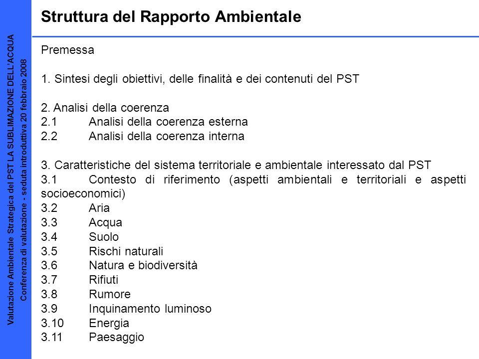 Struttura del Rapporto Ambientale Premessa 1. Sintesi degli obiettivi, delle finalità e dei contenuti del PST 2. Analisi della coerenza 2.1 Analisi de