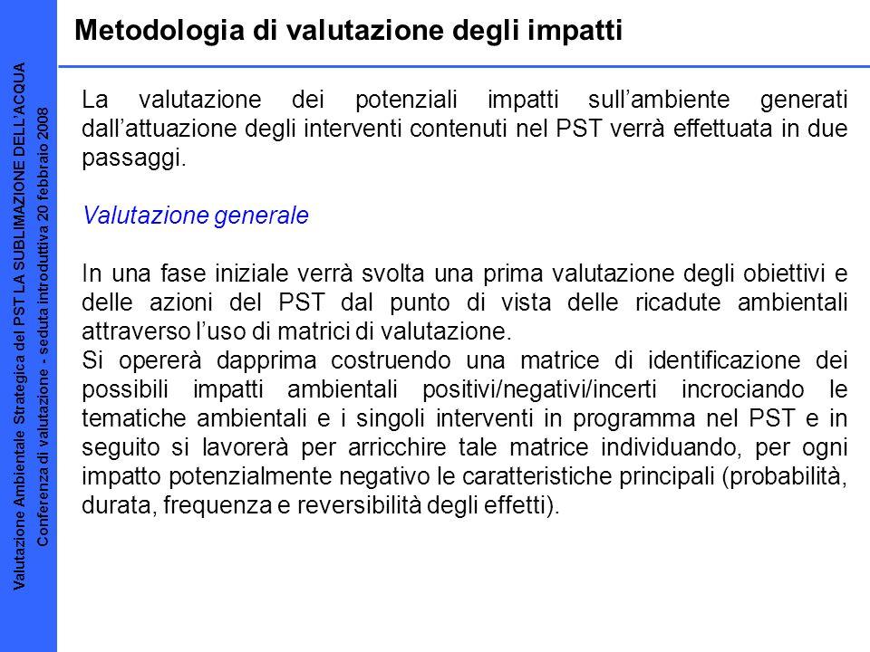 Metodologia di valutazione degli impatti La valutazione dei potenziali impatti sullambiente generati dallattuazione degli interventi contenuti nel PST