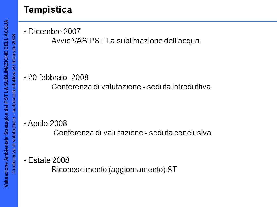 Tempistica Dicembre 2007 Avvio VAS PST La sublimazione dellacqua 20 febbraio 2008 Conferenza di valutazione - seduta introduttiva Aprile 2008 Conferen