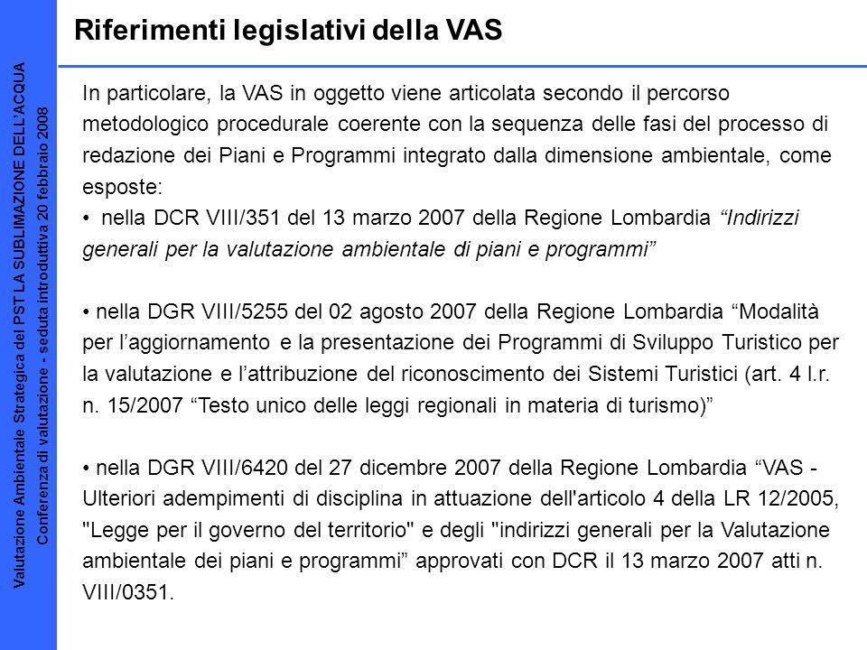 Riferimenti legislativi della VAS In particolare, la VAS in oggetto viene articolata secondo il percorso metodologico procedurale coerente con la sequ