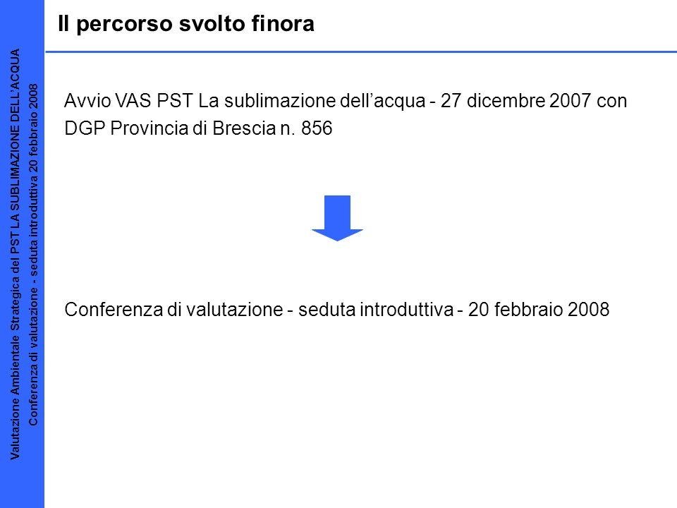Il percorso svolto finora Avvio VAS PST La sublimazione dellacqua - 27 dicembre 2007 con DGP Provincia di Brescia n. 856 Conferenza di valutazione - s