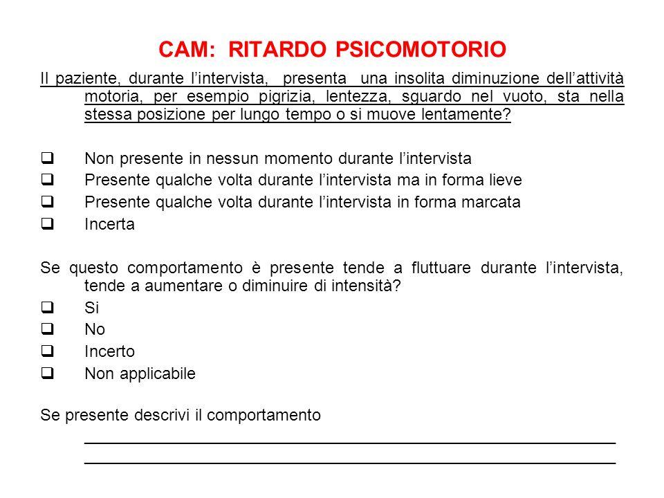 CAM: RITARDO PSICOMOTORIO Il paziente, durante lintervista, presenta una insolita diminuzione dellattività motoria, per esempio pigrizia, lentezza, sg
