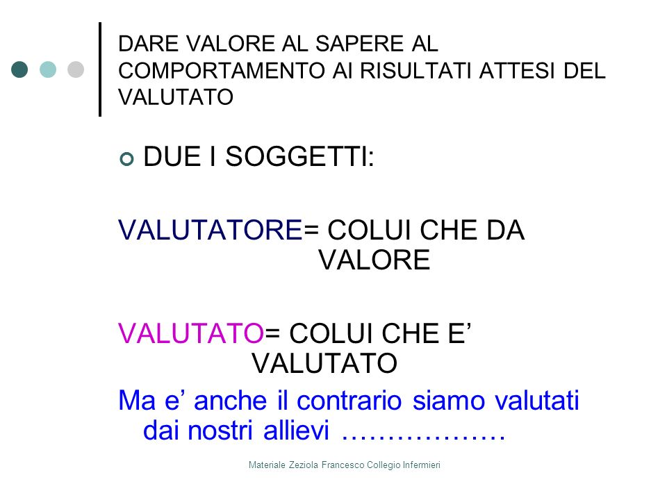 Materiale Zeziola Francesco Collegio Infermieri DARE VALORE AL SAPERE AL COMPORTAMENTO AI RISULTATI ATTESI DEL VALUTATO DUE I SOGGETTI: VALUTATORE= CO