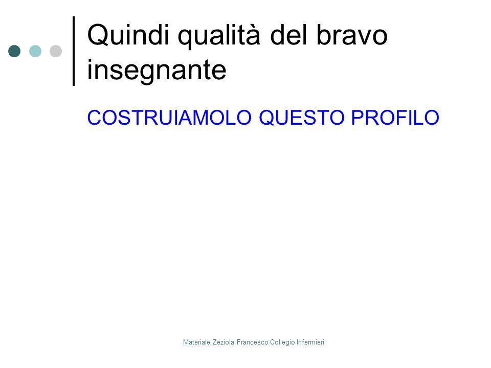 Materiale Zeziola Francesco Collegio Infermieri Quindi qualità del bravo insegnante COSTRUIAMOLO QUESTO PROFILO