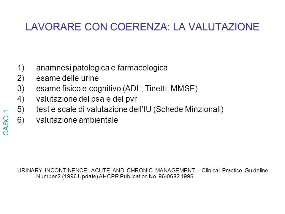 LAVORARE CON COERENZA: LA VALUTAZIONE 1)anamnesi patologica e farmacologica 2)esame delle urine 3)esame fisico e cognitivo (ADL; Tinetti; MMSE) 4)valu