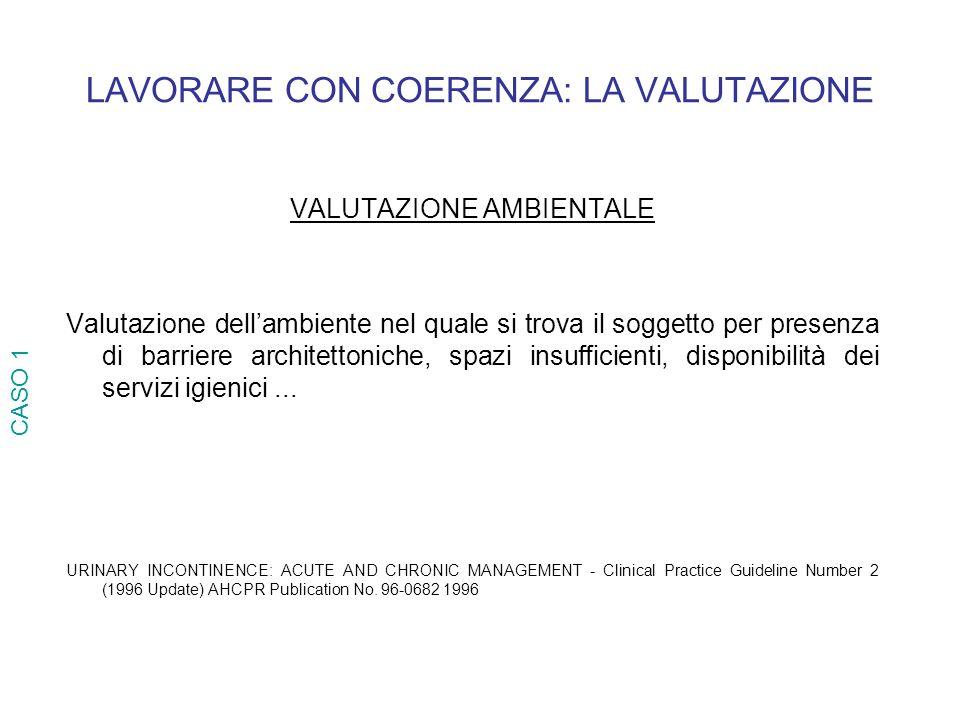 LAVORARE CON COERENZA: LA VALUTAZIONE VALUTAZIONE AMBIENTALE Valutazione dellambiente nel quale si trova il soggetto per presenza di barriere architet