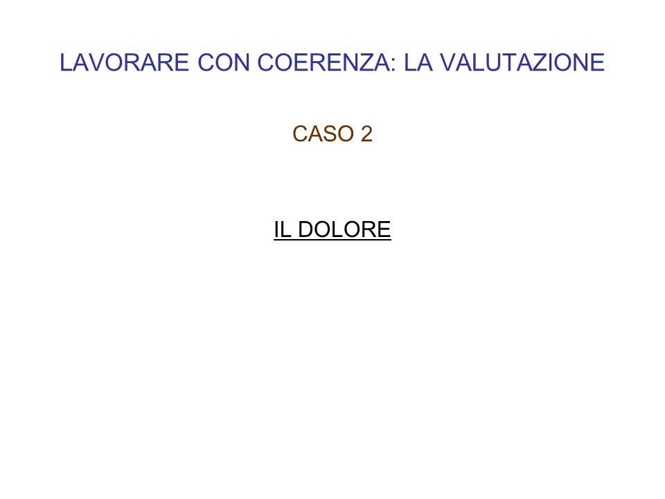 LAVORARE CON COERENZA: LA VALUTAZIONE CASO 2 IL DOLORE