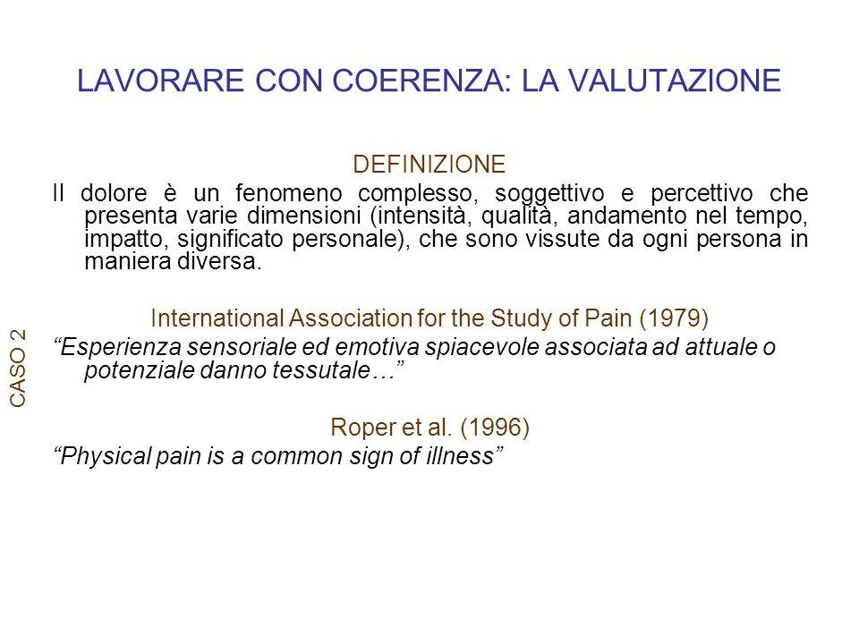 LAVORARE CON COERENZA: LA VALUTAZIONE CASO 2 DEFINIZIONE Il dolore è un fenomeno complesso, soggettivo e percettivo che presenta varie dimensioni (int