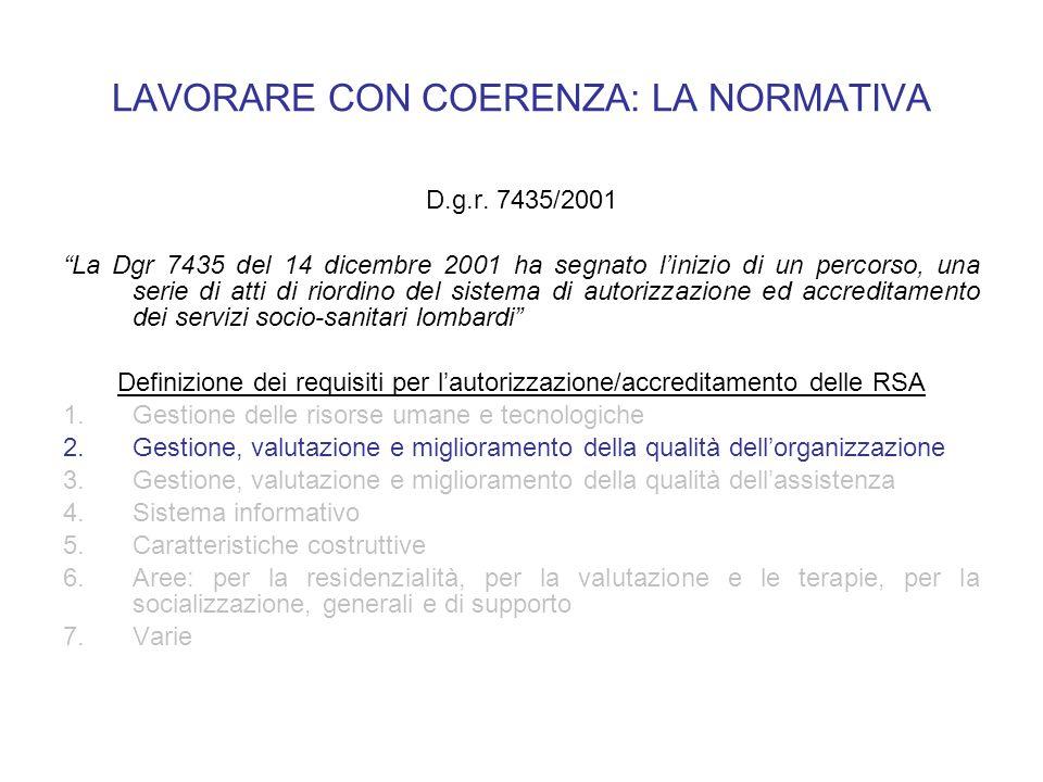 LAVORARE CON COERENZA: LA NORMATIVA D.g.r. 7435/2001 La Dgr 7435 del 14 dicembre 2001 ha segnato linizio di un percorso, una serie di atti di riordino
