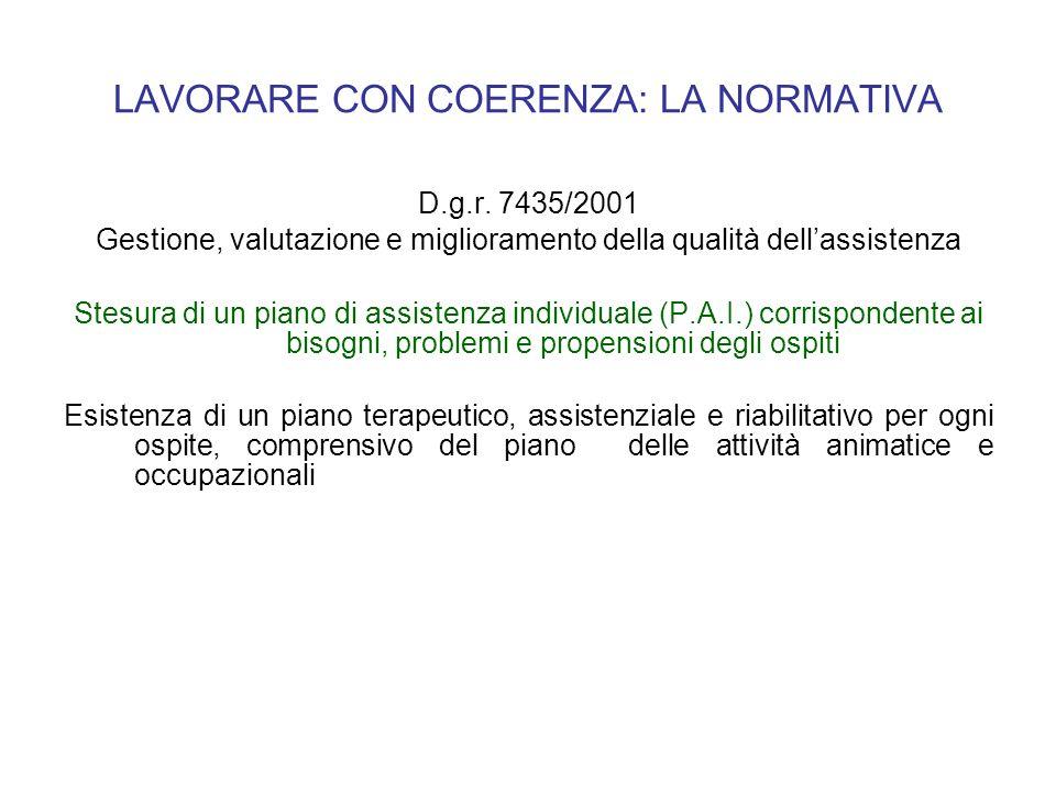 LAVORARE CON COERENZA: LA NORMATIVA D.g.r. 7435/2001 Gestione, valutazione e miglioramento della qualità dellassistenza Stesura di un piano di assiste
