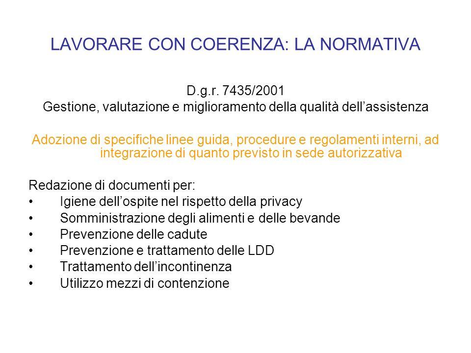 LAVORARE CON COERENZA: LA NORMATIVA D.g.r. 7435/2001 Gestione, valutazione e miglioramento della qualità dellassistenza Adozione di specifiche linee g