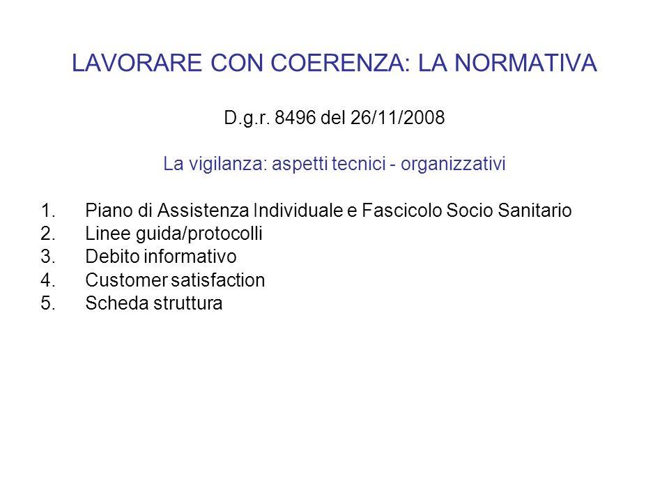 LAVORARE CON COERENZA: LA NORMATIVA D.g.r. 8496 del 26/11/2008 La vigilanza: aspetti tecnici - organizzativi 1.Piano di Assistenza Individuale e Fasci