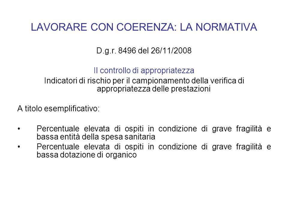 LAVORARE CON COERENZA: LA NORMATIVA D.g.r. 8496 del 26/11/2008 Il controllo di appropriatezza Indicatori di rischio per il campionamento della verific