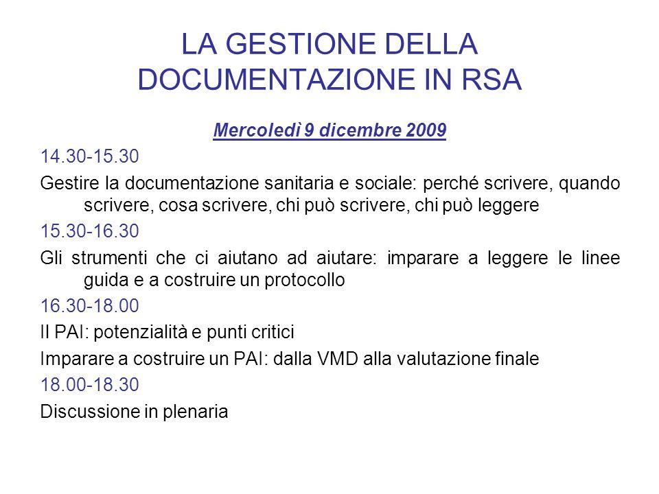 LA GESTIONE DELLA DOCUMENTAZIONE IN RSA Mercoledì 9 dicembre 2009 14.30-15.30 Gestire la documentazione sanitaria e sociale: perché scrivere, quando s