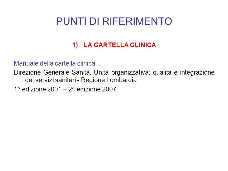 PUNTI DI RIFERIMENTO 1)LA CARTELLA CLINICA Manuale della cartella clinica. Direzione Generale Sanità. Unità organizzativa: qualità e integrazione dei