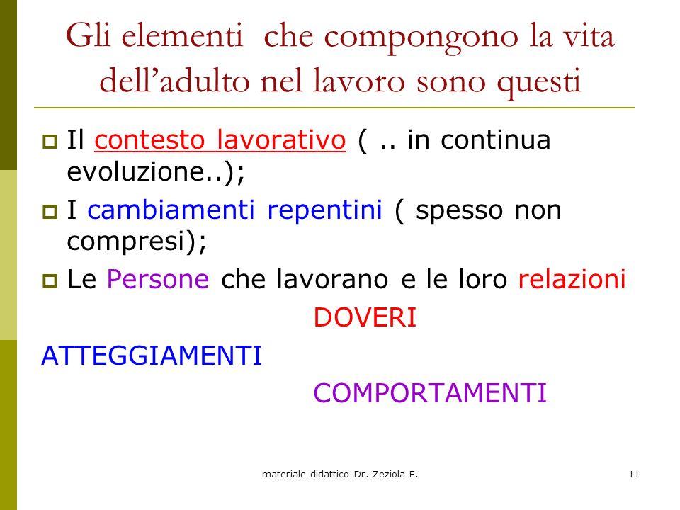 materiale didattico Dr. Zeziola F.11 Gli elementi che compongono la vita delladulto nel lavoro sono questi Il contesto lavorativo (.. in continua evol