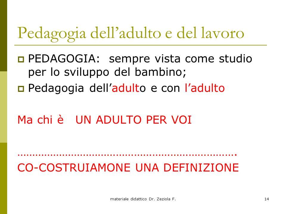 materiale didattico Dr. Zeziola F.14 Pedagogia delladulto e del lavoro PEDAGOGIA: sempre vista come studio per lo sviluppo del bambino; Pedagogia dell