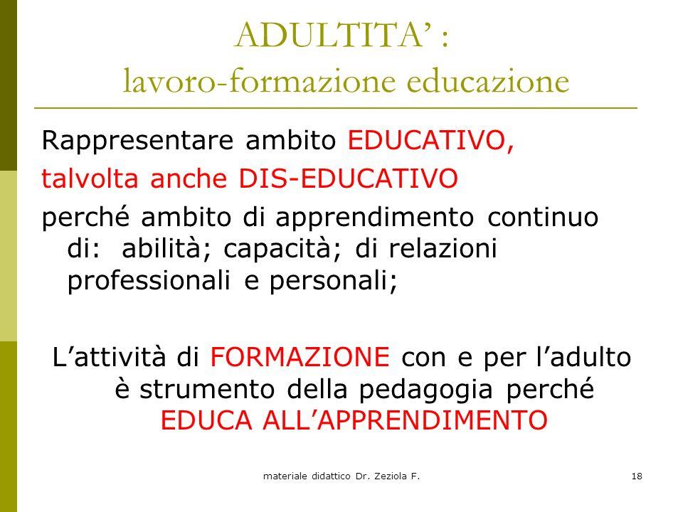 materiale didattico Dr. Zeziola F.18 ADULTITA : lavoro-formazione educazione Rappresentare ambito EDUCATIVO, talvolta anche DIS-EDUCATIVO perché ambit