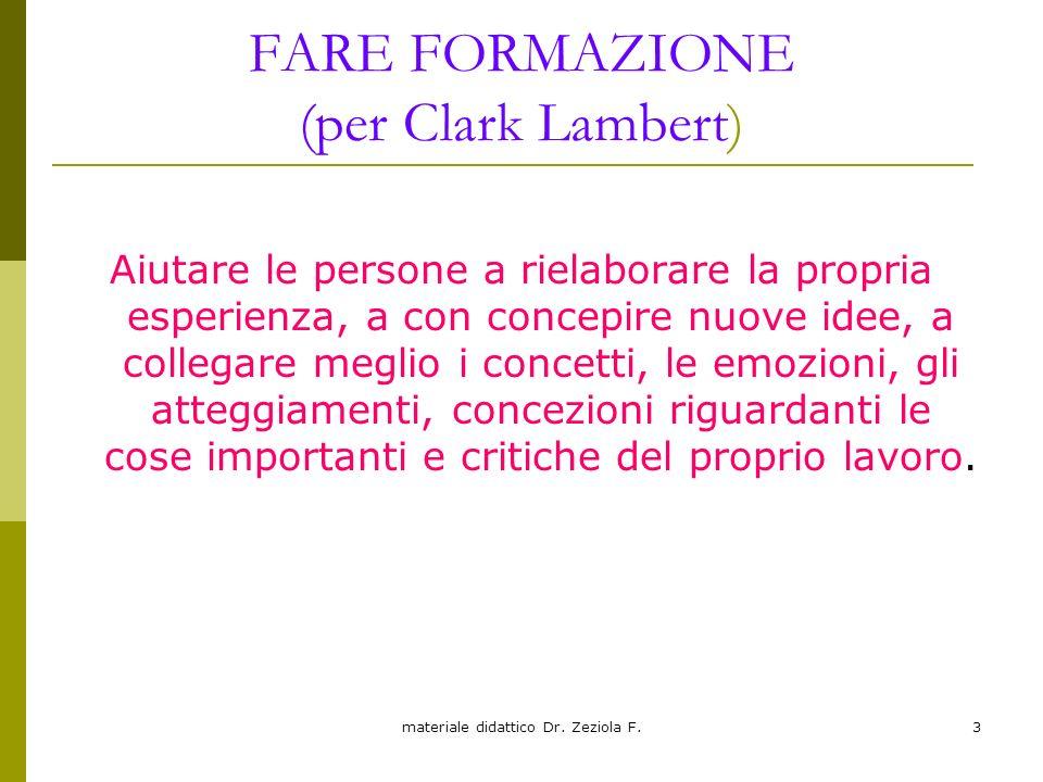 materiale didattico Dr. Zeziola F.3 FARE FORMAZIONE (per Clark Lambert) Aiutare le persone a rielaborare la propria esperienza, a con concepire nuove