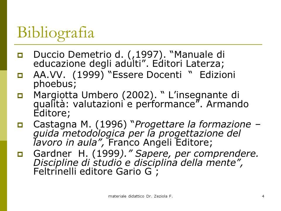 materiale didattico Dr. Zeziola F.4 Bibliografia Duccio Demetrio d. (,1997). Manuale di educazione degli adulti. Editori Laterza; AA.VV. (1999) Essere