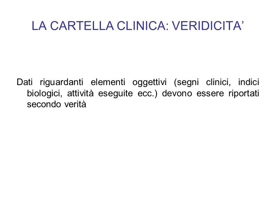 LA CARTELLA CLINICA: VERIDICITA Dati riguardanti elementi oggettivi (segni clinici, indici biologici, attività eseguite ecc.) devono essere riportati