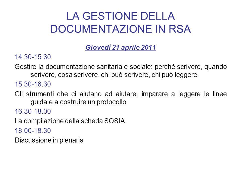 LA GESTIONE DELLA DOCUMENTAZIONE IN RSA Giovedì 21 aprile 2011 14.30-15.30 Gestire la documentazione sanitaria e sociale: perché scrivere, quando scri