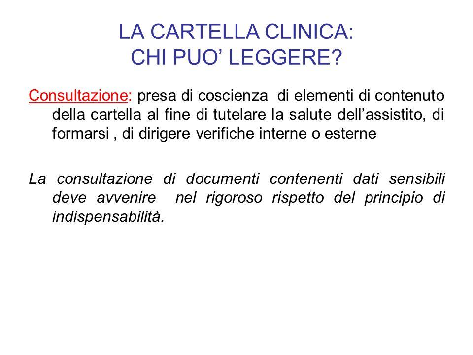 LA CARTELLA CLINICA: CHI PUO LEGGERE? Consultazione: presa di coscienza di elementi di contenuto della cartella al fine di tutelare la salute dellassi