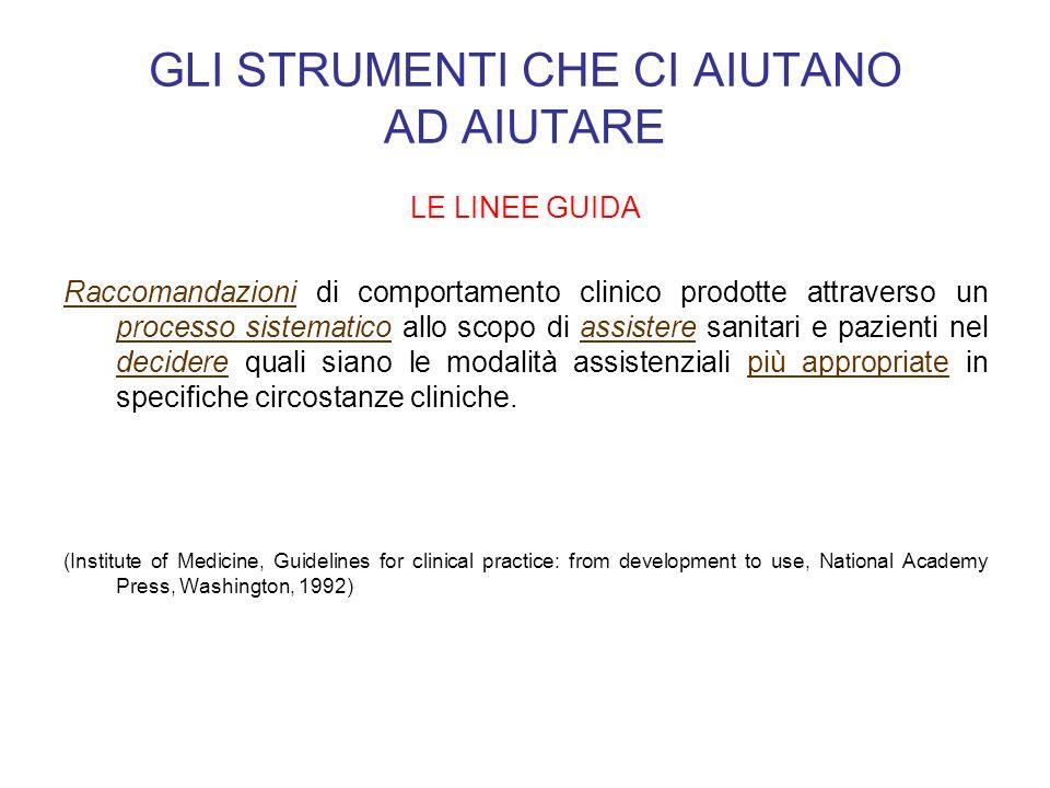 GLI STRUMENTI CHE CI AIUTANO AD AIUTARE LE LINEE GUIDA Raccomandazioni di comportamento clinico prodotte attraverso un processo sistematico allo scopo