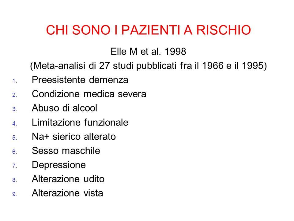 CHI SONO I PAZIENTI A RISCHIO Elle M et al. 1998 (Meta-analisi di 27 studi pubblicati fra il 1966 e il 1995) 1. Preesistente demenza 2. Condizione med