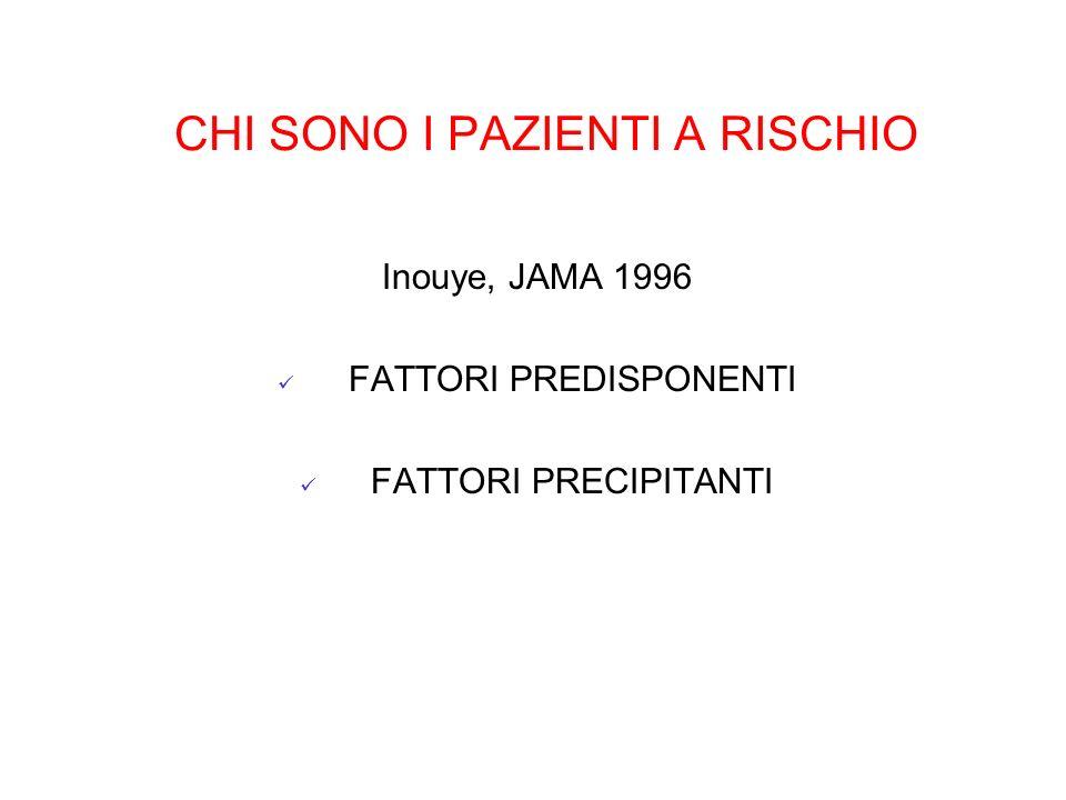 CHI SONO I PAZIENTI A RISCHIO Inouye, JAMA 1996 FATTORI PREDISPONENTI FATTORI PRECIPITANTI