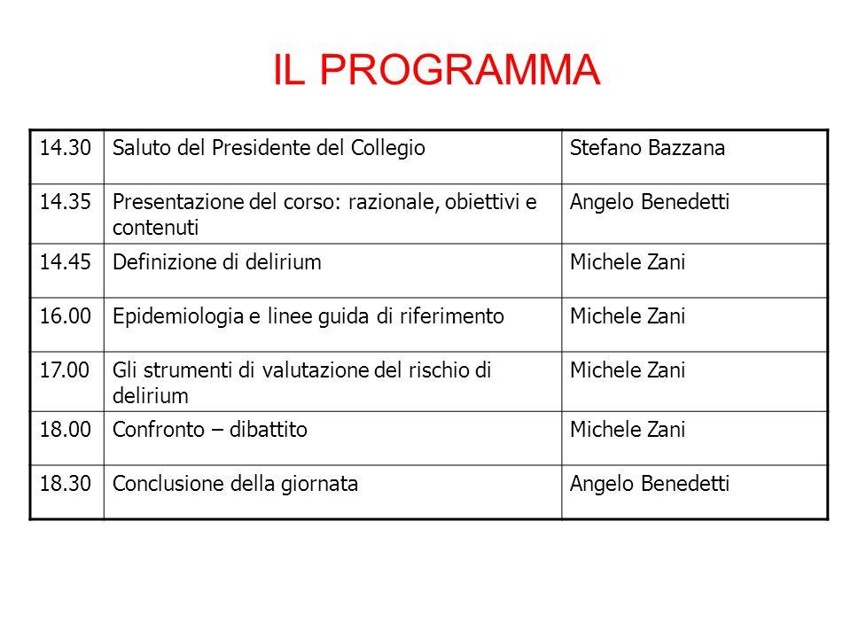 IL PROGRAMMA 14.30Saluto del Presidente del CollegioStefano Bazzana 14.35Presentazione del corso: razionale, obiettivi e contenuti Angelo Benedetti 14