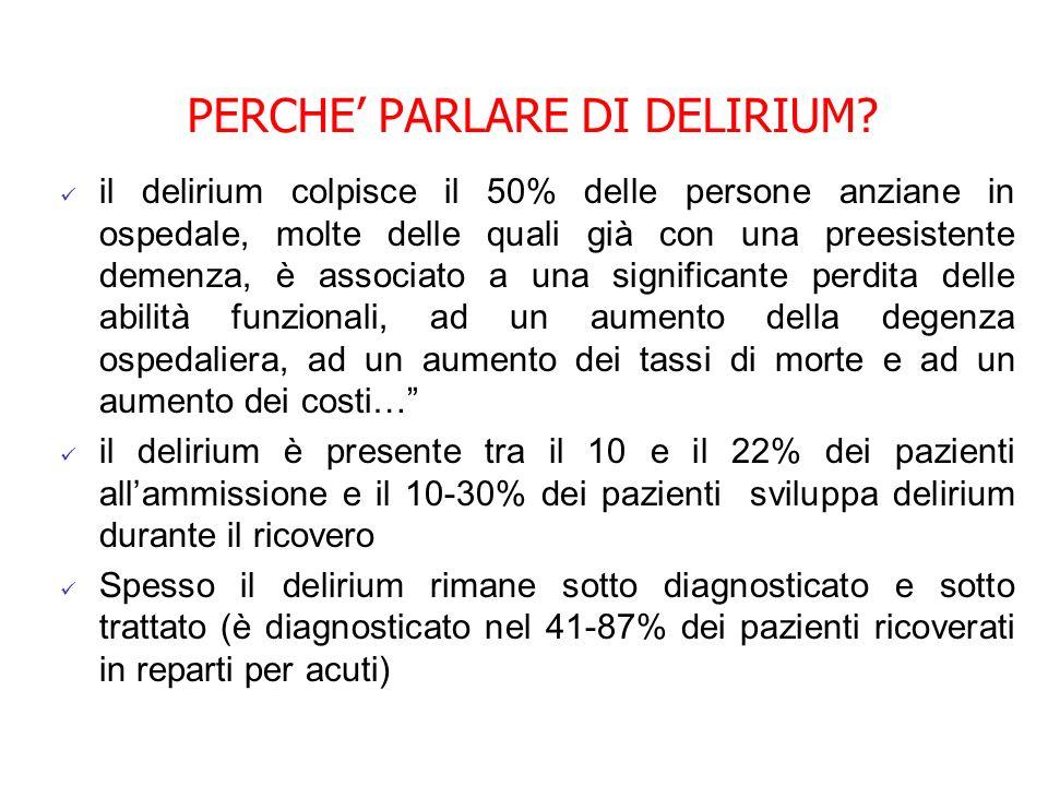 PERCHE PARLARE DI DELIRIUM? il delirium colpisce il 50% delle persone anziane in ospedale, molte delle quali già con una preesistente demenza, è assoc