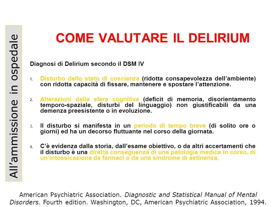 COME VALUTARE IL DELIRIUM Allammissione in ospedale Diagnosi di Delirium secondo il DSM IV 1. Disturbo dello stato di coscienza (ridotta consapevolezz
